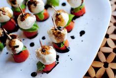Caprese Skewers. They were devoured in less then 5 minutes! Will definitely be making this again and again. Only warning is to make them when it doesn't matter how your house smells. Cooking the balsamic can get pretty stinky.