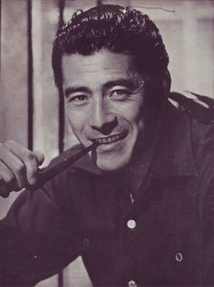 Toshiro Mifune with a pipe Japanese Film, Japanese Men, Japanese Artists, Toshiro Mifune, Men Are Men, Poses, Feature Film, Akira, Actors & Actresses