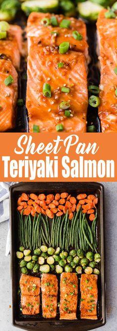This sheet pan teriyaki salmon is the best meal prep. Low mess, homemade teriyaki sauce, easy to make and flavorful