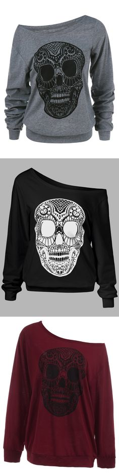 Happy Curvy Halloween | $7.31 | Plus Size Skew Collar Skull Sweatshirt | Sammydress.com