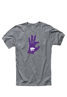 K-State Wildcats Mens Grey Hand Sign Tee