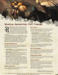Homebrewing class Archetype: Cut-Throat - the anti-Champion, a clever fighter who uses dirty tricks and self-taught techniques to gain the upper hand. Dungeons And Dragons Rules, Dungeons And Dragons Classes, Dungeons And Dragons Homebrew, Dnd Characters, Fantasy Characters, Dnd Stats, Dnd Races, Dnd Classes, Character Creation