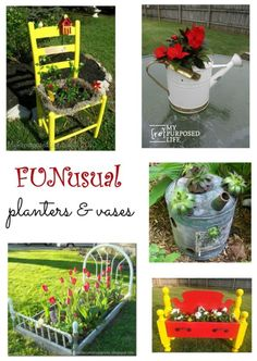 FUNusual fun and unusual planters and vases. Great ideas to use unexpected items as planters and vases indoors and out. #spon