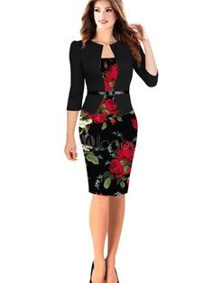Women's Vintage Dress Floral Print Round Neck Length Sleeve Black Sheath Dress With Belt Source by Dresses Mode Outfits, Dress Outfits, Fashion Dresses, Maxi Dresses, Vestidos Vintage, Vintage Dresses, Short Beach Dresses, Black Bodycon Dress, Chic Dress