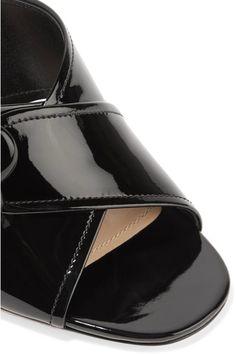 8c06fac7f97 Prada - Buckled Patent-leather Mules - Black
