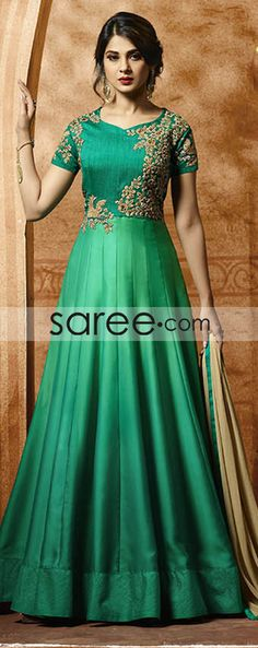 Best new style indian bollywood celebrity replica anarkali salwar kameez, buy online. Gleaming Jennifer Winget art silk and satin embroidered and zari work green floor length anarkali suit. Eid Dresses, Indian Dresses, Pakistani Dresses, Indian Wedding Outfits, Indian Outfits, Indian Clothes, Abaya Fashion, Indian Fashion, Floor Length Anarkali