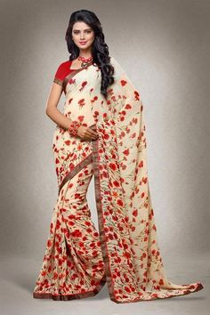 LadyIndia.com #Embroidered Sarees, Urban Naari Beige and Red Colored Georgette Printed Saree with Blouse Piece, Embroidered Sarees, https://ladyindia.com/collections/ethnic-wear/products/urban-naari-beige-and-red-colored-georgette-printed-saree-with-blouse-piece
