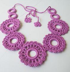 4 Stylish crochet necklaces in different by SkullptureCraft