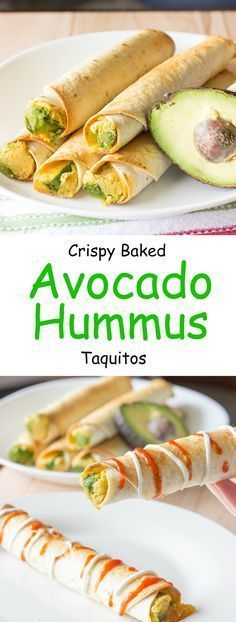 Avocado hummus taquitos are tortillas with hummus, sliced avocado, and shredded cheese rolled into small tubes; and baked until crunchy.