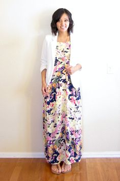 Floral maxi - I would normally wear a cardi over something like this, but a blazer could be cute?  (Maybe not white since I have a crazy little toddler climbing all over me at church...)