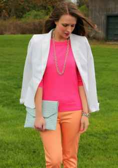 white blazer pink sweater peach pants. A peach sweater with my pink pants would also look great.