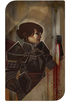 baewall: Seeing the gorgeous tarot cards for the companions in Dragon Age Inquisition, I kind of wanted one for my own inquisitor as well! So I made this for my Oda Cadash.