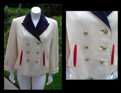 Vintage 1940s Off White Nautical Inspired Jacket by West Coast Vintage RSL