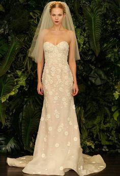 Gorgeous, Strapless, Embroidered Silk Organza/Lace Appliqued Slim A-Line Silhouette Wedding Gown Featuring A Sweetheart Neckline Corset Bodice; by Naeem Khan Fall 2014××××