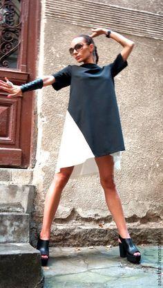 Платье платье летнее платья нарядное короткое платье свободное платье черное платье дизайнерское платье стильное платье черно-белое платье платье для беременных вечернее платье на выход