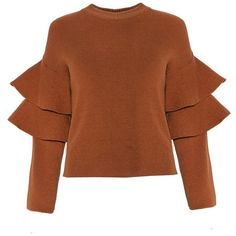 Brown Ruffled Sleeve Sweater ($64) ❤ liked on Polyvore featuring tops, sweaters, jumper, boxy top, bell sleeve top, brown tops, ruffle sleeve top and knit tops