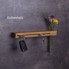 Key board with flower vase // key hook // different variants // wood // gifts for women // handmade // key holder - Handmade key rack with flower vase // key hook External Staircase, Wooden Staircases, Different Types Of Wood, Key Rack, Chic Living Room, Key Hooks, Wood Gifts, Flower Vases, Diy Design