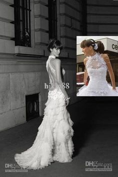 Custom-Made New Sexy High Neck Backless Sleeveless Lace layers Organza Wedding Dresses/Bride Gowns