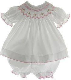 Baby Girls White Pink Smocked Dress Set with Diaper Cover Smocked Dresses For Girls, Smocked Baby Clothes, Baby Clothes Sale, Smocked Clothing, Babies Clothes, Baby Outfits, Baby Girls, Infant Girls, Newborn Girls