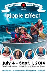 Ripple Effect at San Francisco Mime Troupe, July 4-Sept. 1, 2014. Keiko Shimosato Carreiro and Lisa Hori-Garcia star with Velina Brown and Michael Gene Sullivan in SFMT's 2014 show written by Eugenie Chan, Tanya Shaffer and Michael Gene Sullivan.