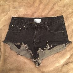 Urban Outfitters Black High-Waisted Cutoff Shorts Cheeky high-rise black denim shorts. Good condition! Urban Outfitters Shorts Jean Shorts