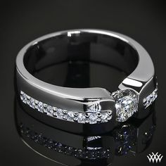 Black Tungsten Ring Fully Stacked With Brilliant Diamond Mens