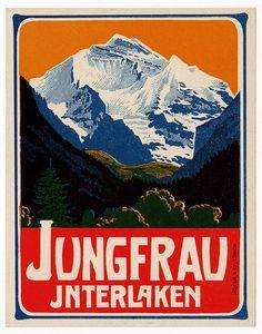 Vintage label for Grand Hotel Jungfrau, Interlaken, Switzerland. via luggage labels by b-effe on flickr