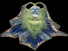 Lalique Art Nouveau Visage Paisible De Femme Avec La Pensée  Brooch
