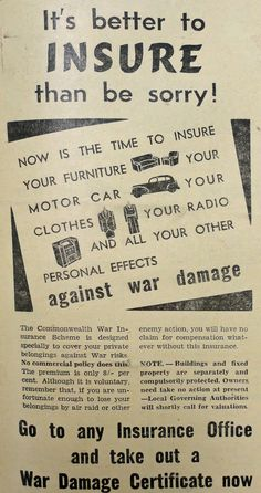 Insurance for war damage, as advertised in May 1942.