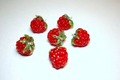 Red Raspberry  beads (3p), lampwork bead set, lampwork berries, Wild berries set, Home Decor, lampwork glass bead, SRA by DewLampworkArt on Etsy