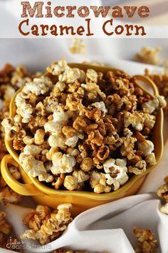 Microwave Caramel Corn ~ http://www.julieseatsandtreats.com