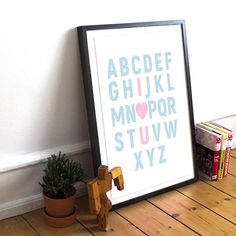 Word Art Print Alphabet Nursery Art I Love You Art