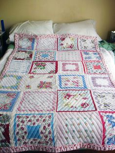 Beautiful quilt made with vintage finds