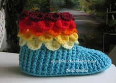 Magia do Crochet: Pantufa crocodilo em crochet para senhora