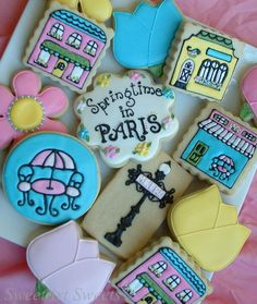 Paris cookies - 1 dozen - Springtime in Paris cookies via Etsy