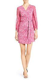 Sigourney Chiffon and Silk Jersey Wrap Dress in birds raspberry by DVF