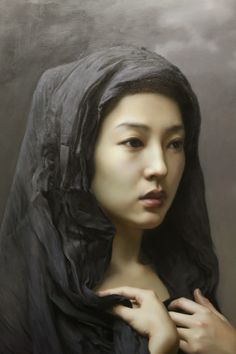 Artist: Wang Neng Jun (王能俊), oil on canvas {contemporary figurative realism art beautiful female head shawl asian woman face portrait painting} Distressed !! <3 wangnengjun.blog.artron.net