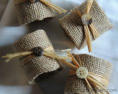 diy burlap napkin rings, crafts