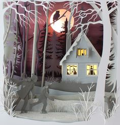 Helen Musselwhite shows how this shadowed layering effect can adds depth to the scene with her handmade paper artworks.