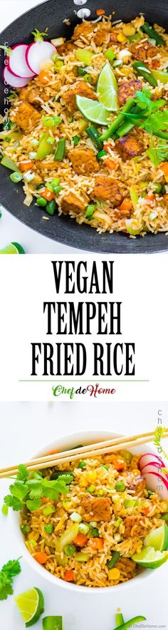 Vegan Fried Rice with Sriracha Tempeh - Vegan fried rice with crunchy vegetables, and crispy garlic Sriracha marinated tempeh. Loaded with plant-based vegan protein, and also gluten free. Not only that! Just 20-25 minutes start to finish!Fried rice are my favorite for nothing!...