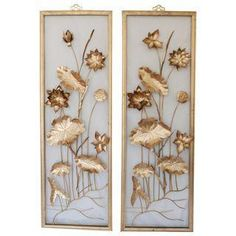 Vintage Metal Wall Art vintage metal floral wall art asian decorrosebudshome on etsy