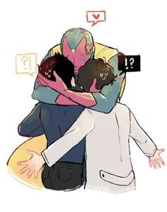 Son hugs his fathers