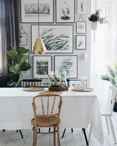 Botanical Interior, Pot Plants, My House, Scandinavian, Room Ideas, Gallery Wall, Decorating Ideas, Dining Room, Artsy
