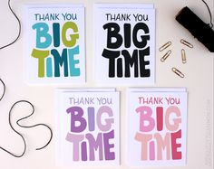 Thank you BIG TIME, boxed set of 8 unique thank you cards. $18.00 by seriouslyshannon on Etsy