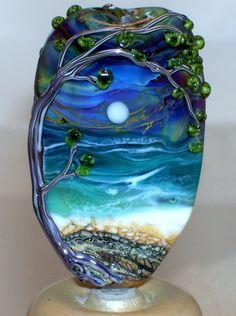 WSTGA~IMPENDING STORM~SEA MOON OCEAN TREE handmade lampwork focal glass bead SRA #WindSweptTreeGlassArt #Lampwork By Molly Cooley