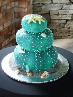 "@Ashleykelly this seemed like you! I love this cake! It is a three tier ""kina"" wedding cake....Kina is a sea urchin native to New Zealand....it was made by Tracy at A'riginal Cakes in Te Awamutu cute for a mermaid or sea underwater theme party birthday cake"