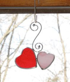 Stained Glass Suncatcher Mini Double Hearts with by GLASSbits, $15.00