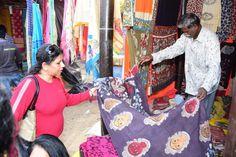 Craftsperson from Andhra Pradesh displays Kalamkari dress material at the ongoing Surajkund International Crafts Mela! Kalamkari Dresses, International Craft, Stalls, Vera Bradley Backpack, 30th, Crafts, Bags, Fashion, Handbags