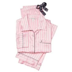 pajama pink/white stripe VICTORIA'S SECRET Afterhours Satin ❤ liked on Polyvore featuring intimates, sleepwear, pajamas, victoria secret pjs, striped pjs, satin pajamas, satin pjs and victoria's secret