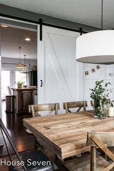 Build a sliding barn door for a dining room - House Seven on Decor, Home, Sweet Home, Interior, Blogger Home, Room Divider Doors, Eclectic Home, House Interior, Diy Barn Door